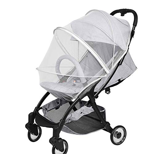 Mosquito Netting for Stroller, Encrypted Stroller Mosquito Net Full Cover, HJQJ Stretchable Netting Breathable Folding Dual-Use Zipper Mesh Mosquito Net for Baby Car seat Cover, Cradles (White)