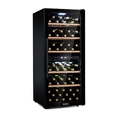 Klarstein Barossa Duo - Wine Cooler with Glass Door, Wine Cooler, Wine Fridge, 2 Zones, 5 to 18 ° C, Quiet: 42 dB, LED, Touch, Door Stop Both Sides, Height Adjustable - Black, 102 Bottles by Klarstein