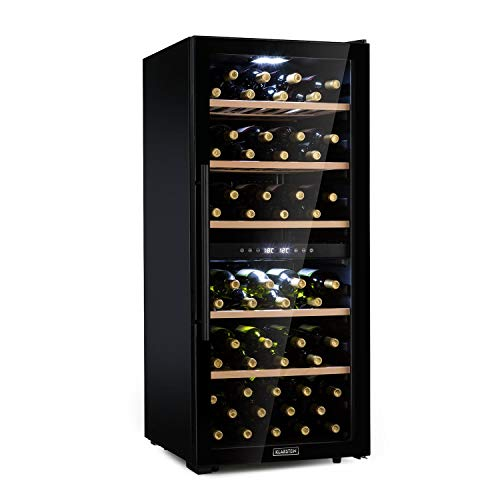 KLARSTEIN Barossa - Cantinetta Vini, Frigo Vini, 2 Zone, Temperatura: 5-18 °C, Porta in Vetro, Display LCD, Illuminazione Interna a LED, Touch, LED, Nero, 102 Bottiglie
