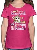 Einschulung und Schulanfang - Ich Glitzer jetzt in der Schule Einhorn mit Schultüte - 140 (9/11 Jahre) - Fuchsia - 128 mädchen - F131K - Mädchen Kinder T-Shirt
