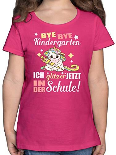 Einschulung und Schulanfang Geschenk - Ich Glitzer jetzt in der Schule Einhorn mit Schultüte - 128 (7/8 Jahre) - Fuchsia - schultüte mädchen - F131K - Mädchen Kinder T-Shirt