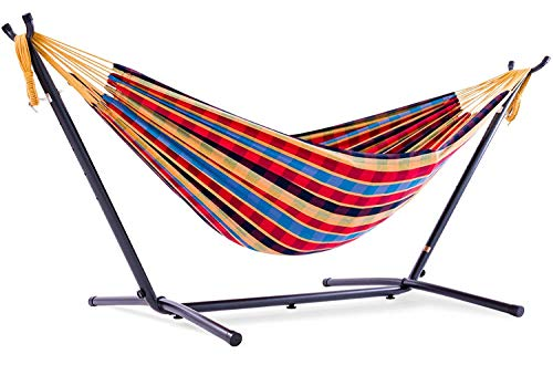 Vivere Double Cotton Hammock with Space Saving Steel Stand, Paradise (450 lb Capacity-Premium Carry Bag Included)