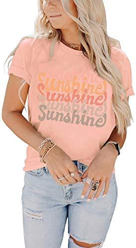 SLYZ 2021 Camiseta De Verano para Mujer Camiseta con Estampado De Letras con Cuello Redondo Camiseta De Manga Corta Informal para Mujer