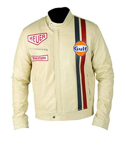 SkySeller Steve McQueen Le Mans Driver Grandprix Gulf Motorrad-Lederjacke Gr. XXX-Large, Half-white
