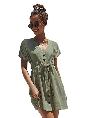 Simplee Women's V Neck Button Down Short Sleeve Waist Belted Mini Dress Celadon 10