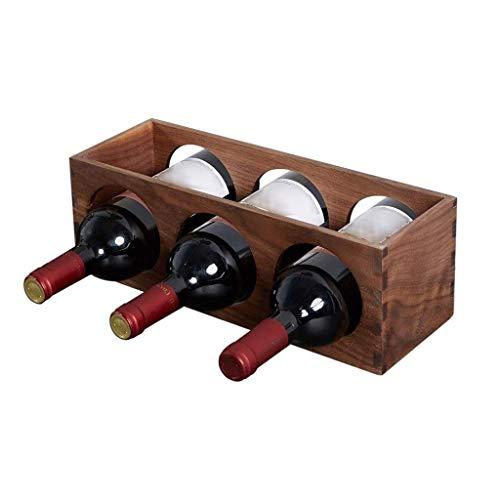Rack Black Walnut casa Wine Piccolo di Legno Solido Desktop Governo del Vino Decorazione Camera (Color : Marrone, Size : 35 * 12 * 12cm)