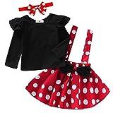 Vestido de princesa con diseño de Minnie Mouse para niña, de manga corta, para carnaval, cosplay, medieval, con lazo y tutú, para 1 – 4 años rojo/negro 80 cm