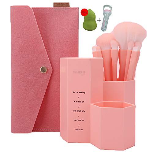 Pinceaux Maquillage Cosmétique Professionnel,Conception 8Pcs Kit Macarons Cosmétique Brush,Avec Tube De Brosse+Trousse De Maquillage,Rose