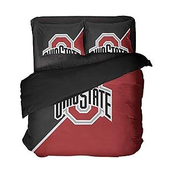 Magaport Ohio State Flat Sheets Football Bed Set American University Duvet Covers College Athlete Bedding Set Full Size 3pcs