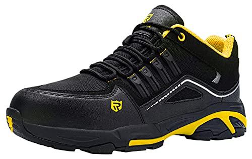 Zapatos de Seguridad Hombre,S3 Zapatillas de Seguridad Antideslizantes con Punta de Acero Antipinchazos Calzados de Trabajo 43,Negro Amarillo