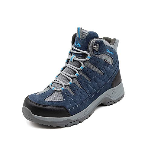 Clorts Premium Mens Mid Hiking Waterproof Boots | Perfect for Ourdoor Backpacking Trekking Trail Hiker Shoes Blue