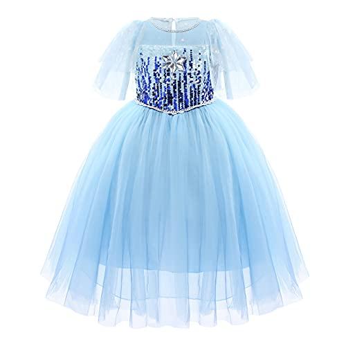 OBEEII Vestido de Elsa Reino de Hielo Disfraz de Princesa Elsa con Accesorios Traje de Carnaval Fiesta Halloween Cosplay Navidad Costume Azul01 4-5 Años