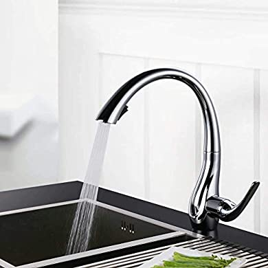 Foto di Homelody rubinetto da cucina a scomparsa rotazione di 360 ° 2 modalità spray rubinetto monocomando per lavabo rubinetto in ottone design elegante a collo di cigno