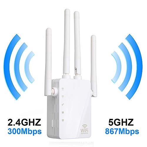 Repetidor inalámbrico WiFi CASEWRS Booster 1200M Enrutador de Doble Banda a través del repetidor de Pared 4 Antena inalámbrica Inteligente WiFi Amplificador de señal Punto de Acceso Repetidor WLAN