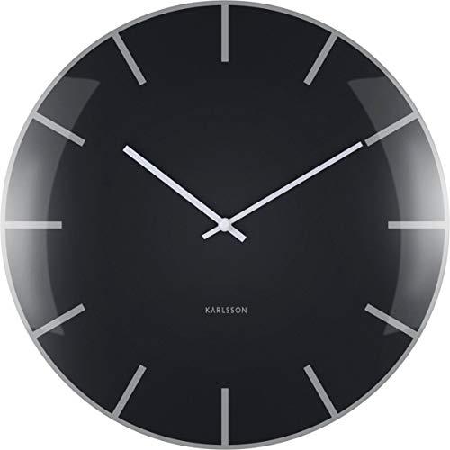 Karlsson Dome klok, wandklok, glas, zwart, één maat