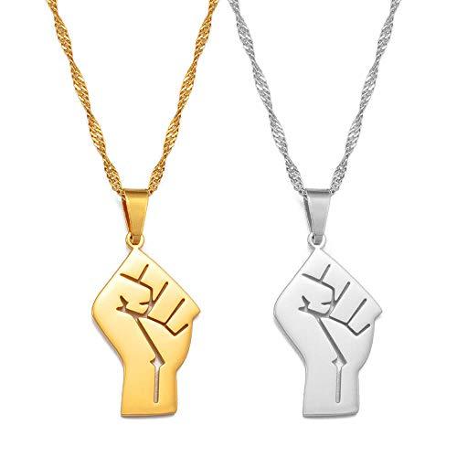 Collares con colgante de símbolo de puño africano Color plateado / Encanto de color dorado Cadenas de materia viva negra Joyas -Oro__60cm_