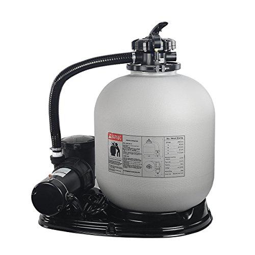 "XtremepowerUS 75112 Pool Sand Filter 19"" W/Pump 1.5HP ABOVEGROUND, Grey"