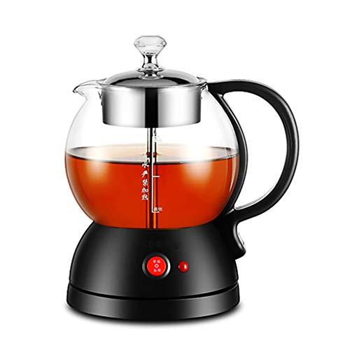 Kettle Tea - Tetera (1 L, 600 W, vidrio de borosilicato, acero inoxidable 304, apagado automático, protección contra hervido), color negro