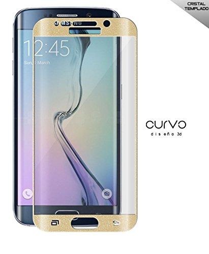 Cristal templado curvo 3d protector de pantalla Compatible con Samsung galaxy s6 edge Dorado