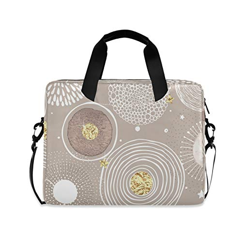 Stars Snow and Circle Texture Laptop Case Bag Sleeve Portable Crossbody Messenger Briefcase Attache Casew/Strap Handle, 13 14 15.6 inch