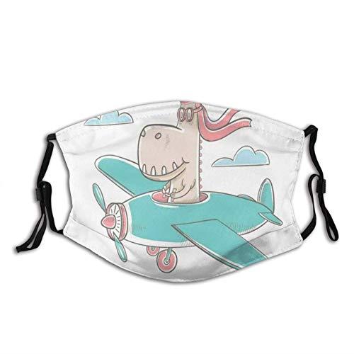 Cómodo diseño de dinosaurio volando un avión en el cielo fresco hipster divertido gráfico para niños, decoración facial impresa para adultos