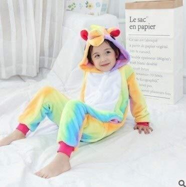 Einhorn Pyjama Jumpsuit Flanell Kinder Pyjama Set Winter-mit Kapuze Tier Einhorn Pikachu Stich Kinder Pyjamas for Jungen, Mädchen, Nachtwäsche Onesies (Color : A, Size : 8)