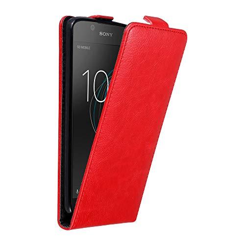 Cadorabo Hülle für Sony Xperia L1 in Apfel ROT - Handyhülle im Flip Design mit Magnetverschluss - Hülle Cover Schutzhülle Etui Tasche Book Klapp Style