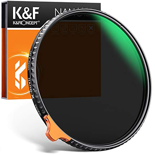 Filtro ND Variable K&F Concept 82mm Filtro Variable ND2-ND400 (9 Stops) Filtro Neutra Slim con Anillo Giratorio, Vidrio Japonés Nano-Revestimiento, Resistencia a arañazo y Funda de Cuero (Nano-X)