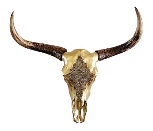 MichaelNoll - Cabeza de toro (polirresina, tamaño XXL, 73 cm), color dorado