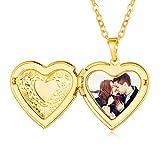 Collar Colgante Corazón Moderno Oro Amarillo 18K Cadena Ajustable Rolo Elegante Guardapel...