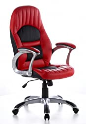 hjh OFFICE 621300 office armchair Racer 200 artificial leather red / black PC chair executive armchair, wide seat, upholstered