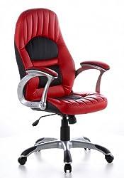 hjh OFFICE 621300 Bürosessel Racer 200 Kunstleder Rot/Schwarz PC-Stuhl Chefsessel, breite Sitzfläche, gepolstert