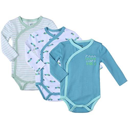 Baby Boy's 3-Pack Long-Sleeve Kimono Bodysuit Set -Side Snap Onesie Infant Bundle. (Aquamarine Heather, 3-6 Months)