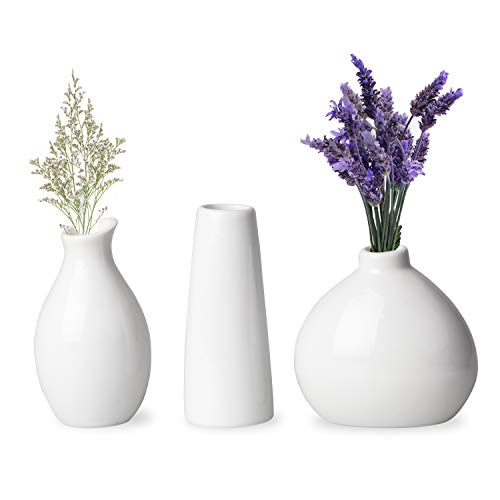 Upper Midland Products 3 White Vases for Decor, Small White Vase Ceramic Vases for Home Decor
