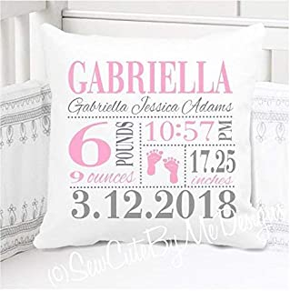 "Sew Cute by Me Designs Original Birth Announcement Pillow for Baby Girls Nursery - Pink Footprints - Includes Personalized Pillowcase and Pillow Insert 14""x14"" or 16""x16"""