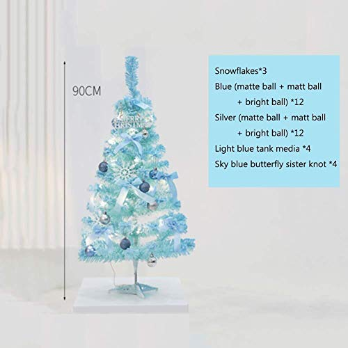 LXING Christmas Tree Stand Blue Artificial Christmas Tree,6.8ft Pre-lit Xmas Tree with Metal Stand Holiday Decoration Unique Gift Party Dorm-Blue (Color : Blue, Size : 3ft)