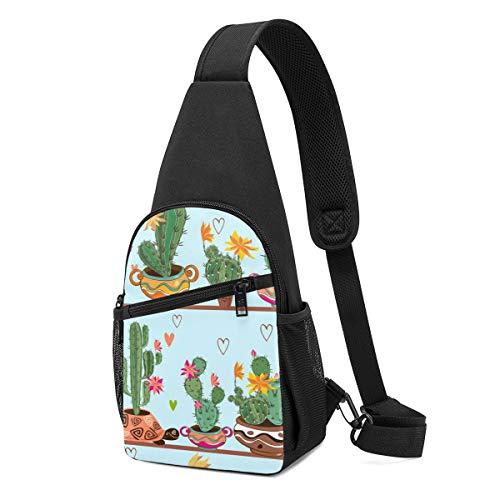 Bolso bandolera con patrón de dibujos animados sin costuras, diseño de cactus en las ollas en los estantes, ligero, mochila para el pecho, bolsa cruzada, bolsas de viaje, senderismo, para hombres y mujeres