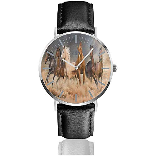Horse Herd Desert Sand Storm Herrenarmbanduhr mit Lederband, Zifferblatt aus Kristall