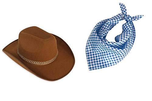 KarnevalsTeufel Country Set 2 TLG. Cowboy Cowgirl Hut und Halstuch kariert Western Paket Dreieckstuch Line Dance Square Dance Countryline Westernstyle Outfit Kopfbedeckung (Braun & Blau)