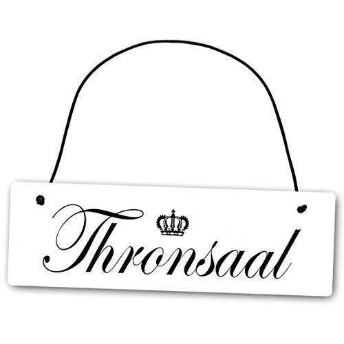 Homeyourself Metallschild Thronsaal 25 x 8 cm aus Alu Verbund (Alu, Kunststoff) für In- und Outdoor Deko Schild Dekoschild Wandschild außen und Innen