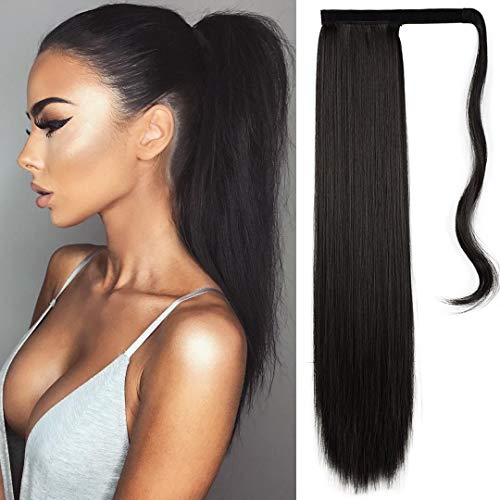FESHFEN 61 cm lang glatt gewickelt Pferdeschwanz-Verlängerung Kunsthaar Haarverlängerung Haarteil für Frauen 125g