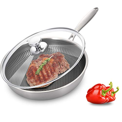 EKN stainless steel frying pan with lid Nonstick Coating Induction-compatible stainless steel frying pan,skillet, ergonomic handle