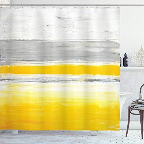 N \ A Gelber Duschvorhang, Aquarell-Stil, zweifarbig, abstraktes Kunst-Design mit Pinselstrich-Effekten, Stoffstoff, Badezimmer-Dekor-Set mit Haken, 183 x 183 cm, grün-gelb