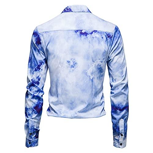 D-Rings Camisa suelta para hombre con botones, manga larga estampada, con solapa, para el tiempo libre,...
