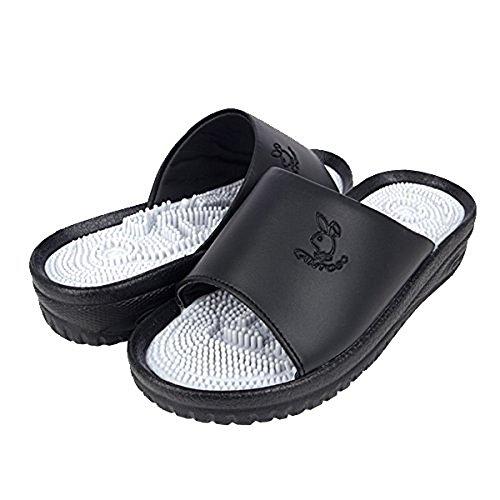 Cantos Korea CT-503C Reflex type Women size Black Acupressure Shiatsu Health & Fitness Slipper, Reflexology Comfort Slide Sandal for Relaxing Foot Massage Healthcare (W6)