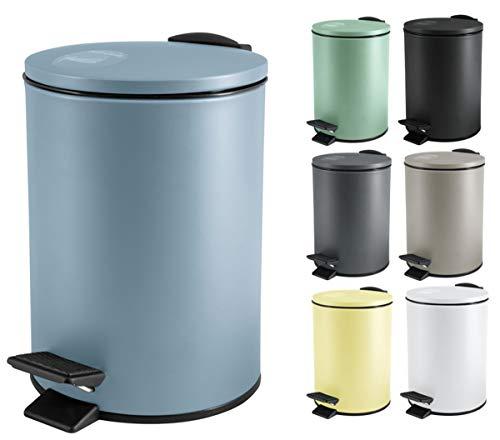 Spirella Kosmetikeimer 3 Liter Edelstahl mit Absenkautomatik und Inneneimer Adelar Badezimmer Mülleimer Softclose Abfalleimer blau
