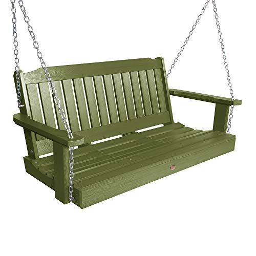 highwood AD-PORL2-SGE Recycled Plastic Marine-Grade 2-Person Lehigh Porch Swing with Zinc-Plated Chain, 4 Feet, Dried Sage
