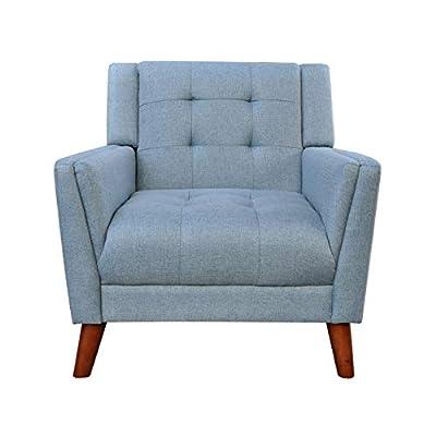Christopher Knight Home Alisa Mid Century Modern Fabric Arm Chair, Blue, Walnut