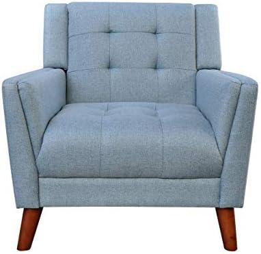 Best Christopher Knight Home 305539 Alisa Mid Century Modern Fabric Arm Chair, Blue, Walnut