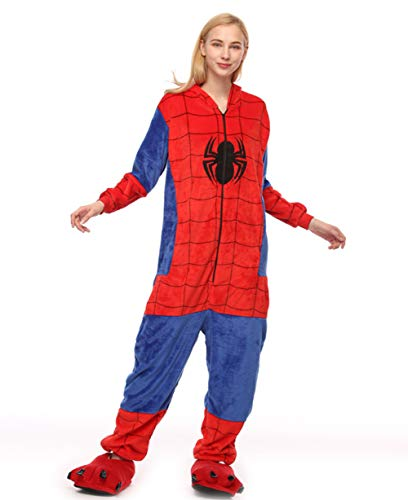 Unisex Adult Pyjama Cosplay Tier Onesie Nachtwäsche Kleid Overall Animal Sleepwear Erwachsene (Spider Man, XL)